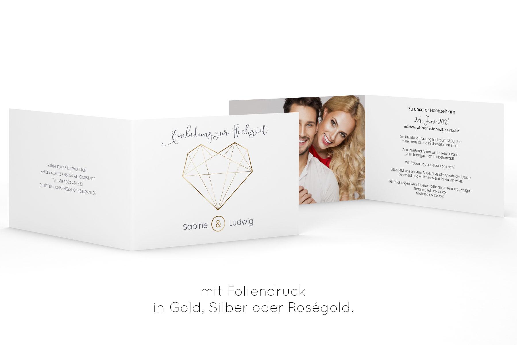 Diamant Einladung Klappkarte Querformat