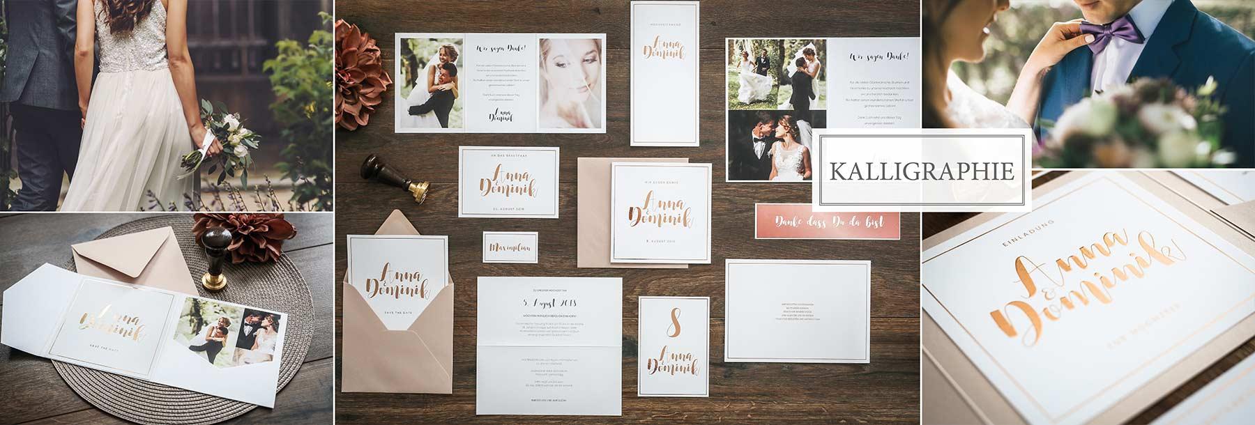 Hochzeitskarten mit Folienprägung und Kalligaphie