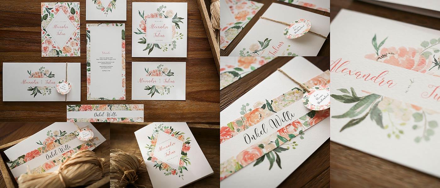 Hochzeitskarten der Serie:Abelon passend zur Sommerhochzeit