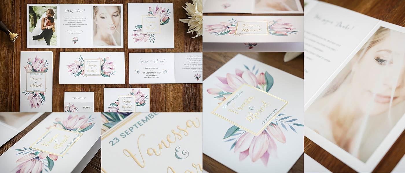 Hochzeitskarten für Boho & Vintage mit handgemalten Blumen und Folienprägung