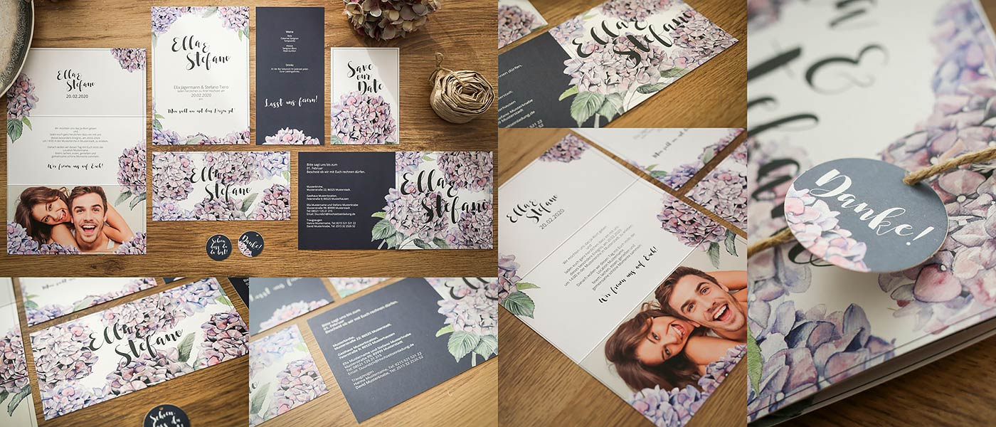 Hochzeitskarten für Boho & Vintage mit handgemalten Hortensien