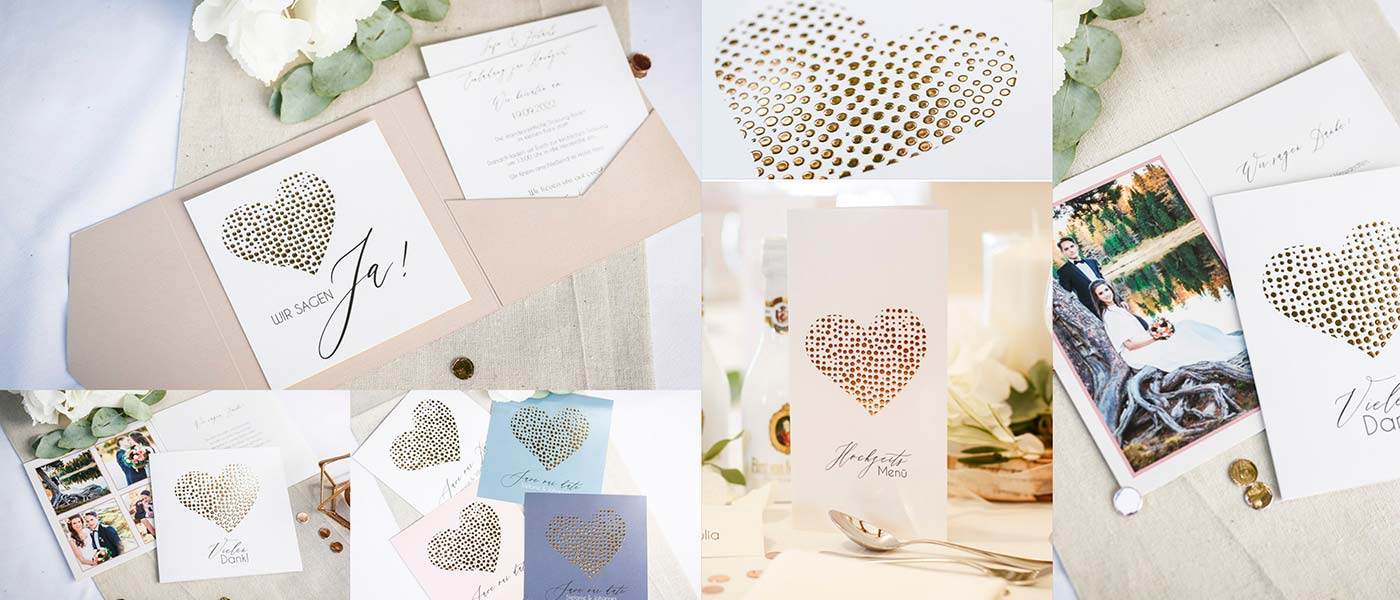 Hochzeitskarten mit geprägtem Herz in Gold, Silber oder Rosegold online gestalten