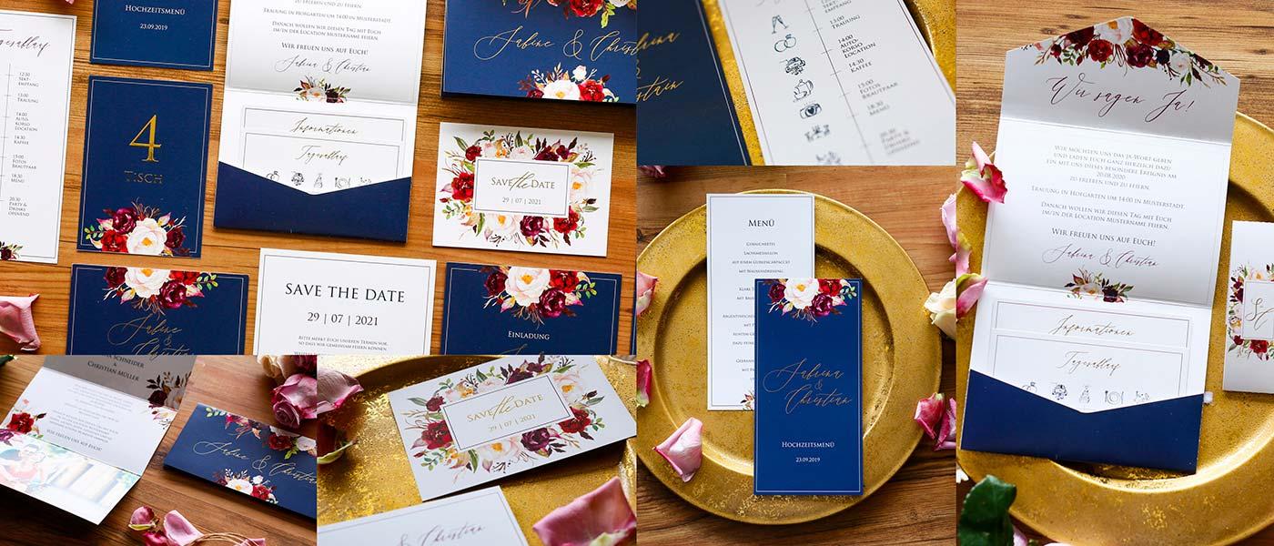 Hochzeitskarten mit handgemalten Blumen in watercolor und exklusiver Folienprägung