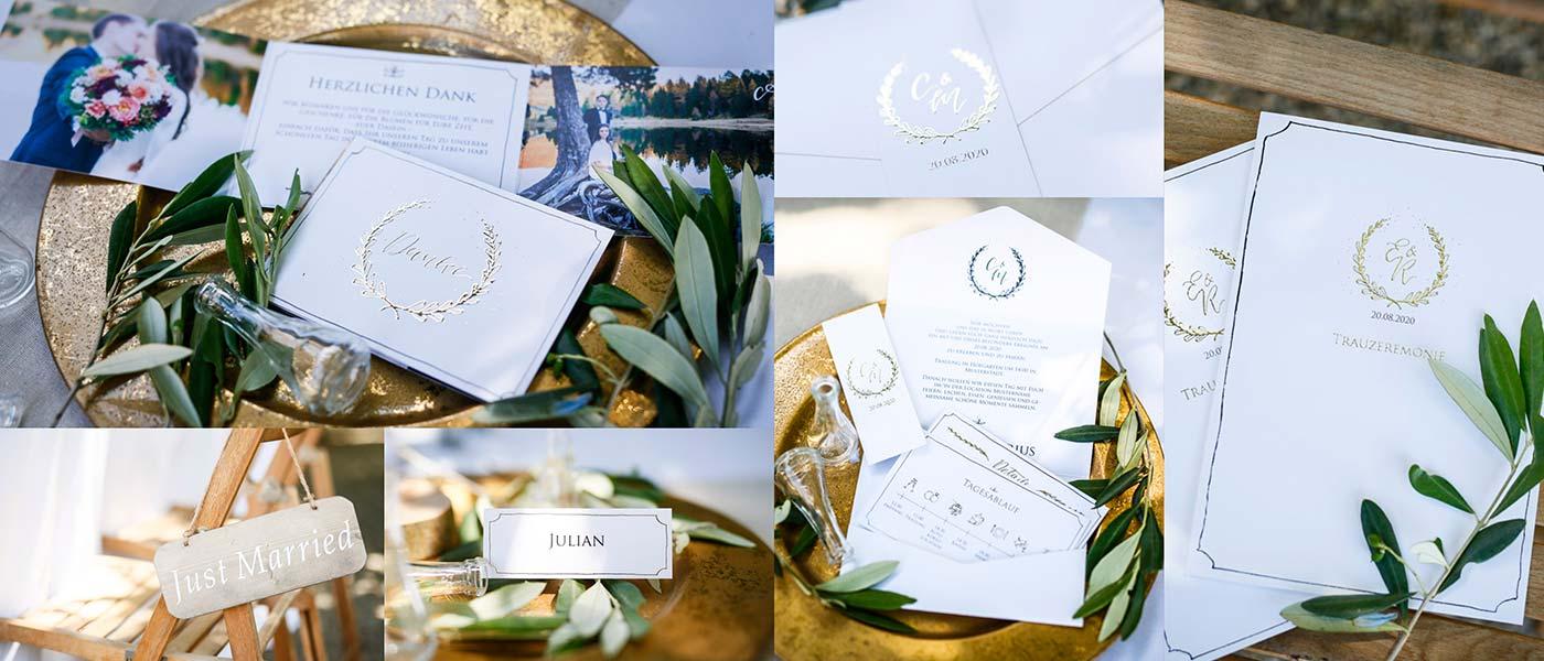 Hochzeitskarten mit geprägtem Monogramm online gestalten