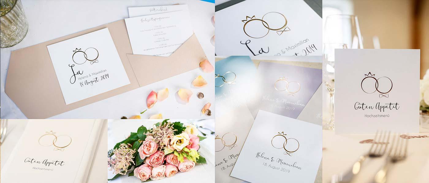 Hochzeitskarten mit geprägten Ringen als Mann und Frau in Gold, Silber oder Rosegold online gestalten