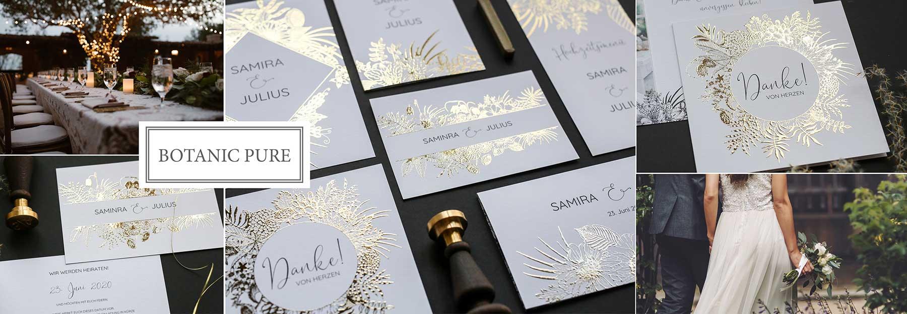 Hochzeitskarten mit Blumenranken in Folie veredelt