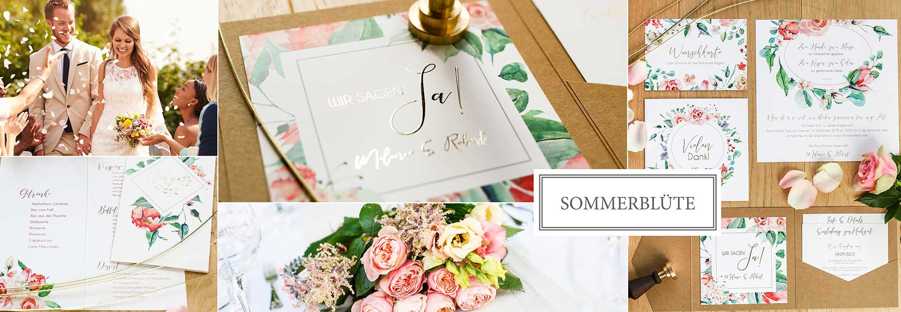 Hochzeitskarten mit handgemalten Blumen und Folienveredelung in Roségold